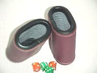 Leather Dice Cups, Oval Bordeaux